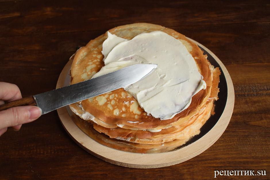 Блинный торт «Крепвиль» с маскарпоне - рецепт с фото, шаг 10