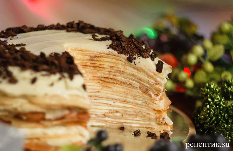 Блинный торт «Крепвиль» с маскарпоне - рецепт с фото