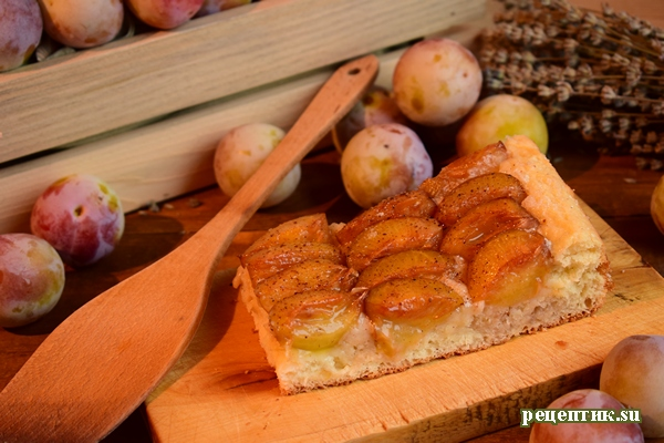 Пышный дрожжевой пирог со сливами - рецепт с фото