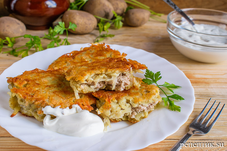 Картофельные драники с мясом (колдуны) - рецепт с фото