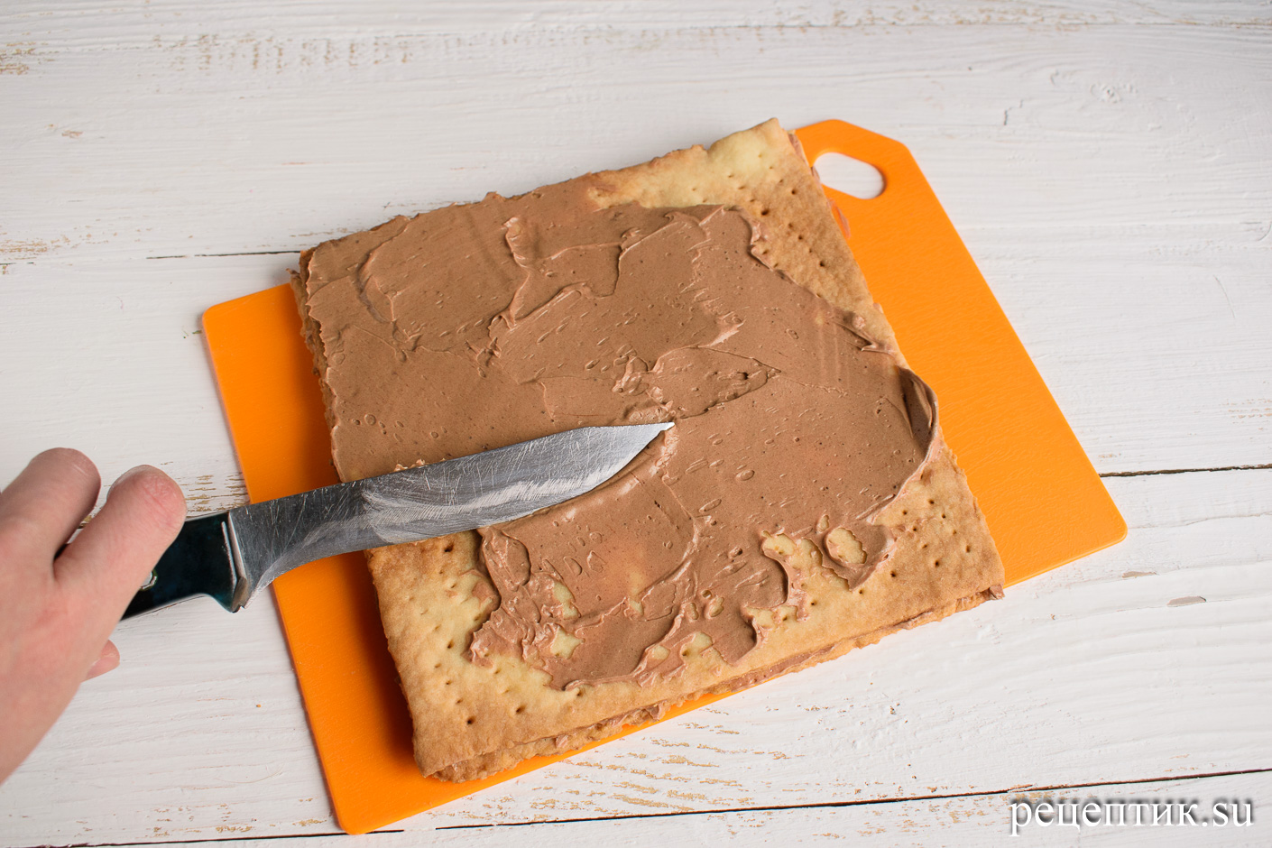 Торт «Ленинградский» — песочный торт с шоколадным масляным кремом - рецепт с фото, шаг 16
