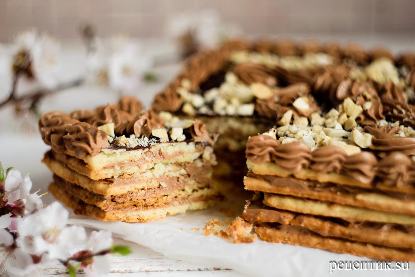Торт «Ленинградский» — песочный торт с шоколадным масляным кремом - рецепт с фото, результат