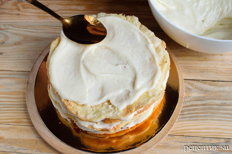 Торт «Наполеон» из рубленого слоеного теста с заварным кремом - рецепт с фото, шаг 21