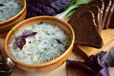 Рецепт окрошки на сыворотке с базиликом