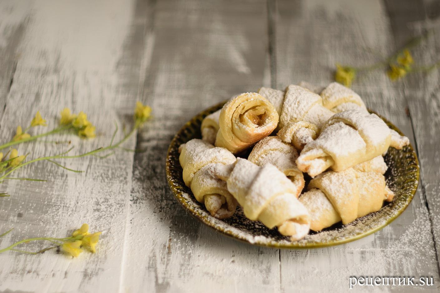 Домашние песочные рогалики с повидлом - рецепт с фото, результат