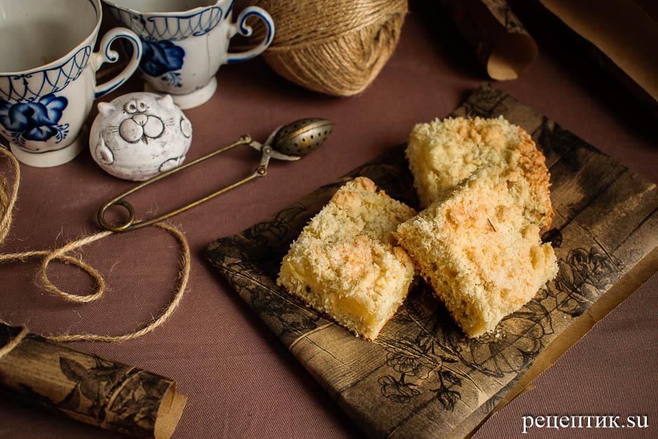 Пирог с консервированными ананасами и хрустящей кокосовой крошкой - рецепт с фото, результат