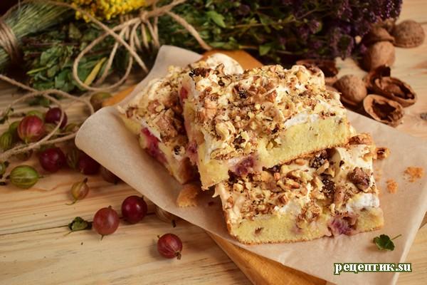 Бисквитный пирог с крыжовником и безе - рецепт с фото
