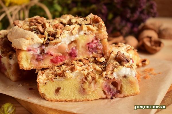 Бисквитный пирог с крыжовником и безе - рецепт с фото, результат