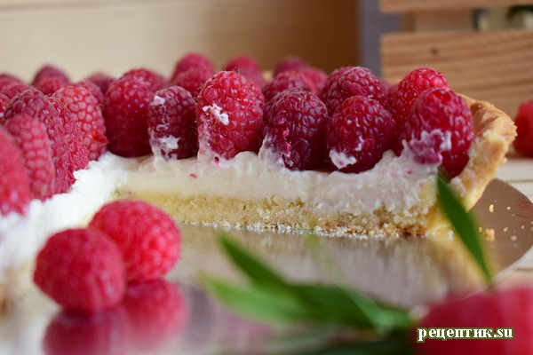 Пирог со свежей малиной и творожным сыром - рецепт с фото, результат