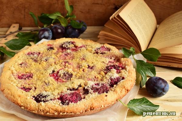 Простой песочный пирог со сливами и сахарной крошкой - рецепт с фото, результат