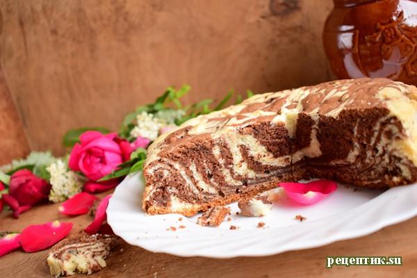Мраморный пирог «Зебра» на кефире - рецепт с фото, результат