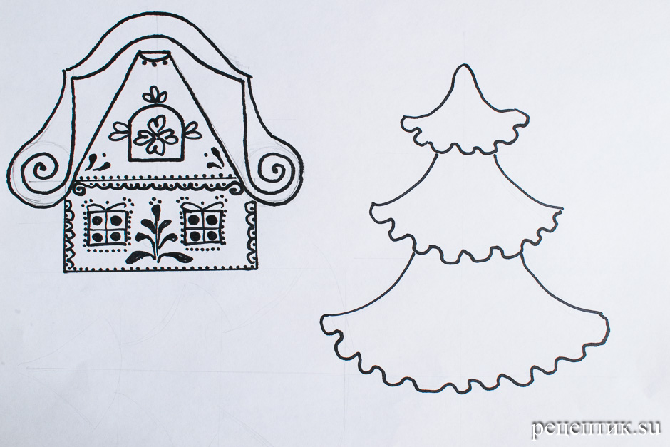 Пряничный домик простой (с шаблонами) - рецепт с фото, шаг 2