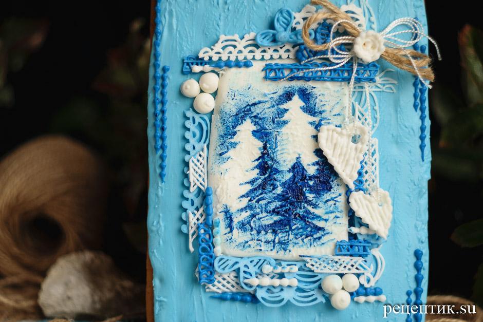 Новогодняя пряничная открытка - рецепт с фото, результат
