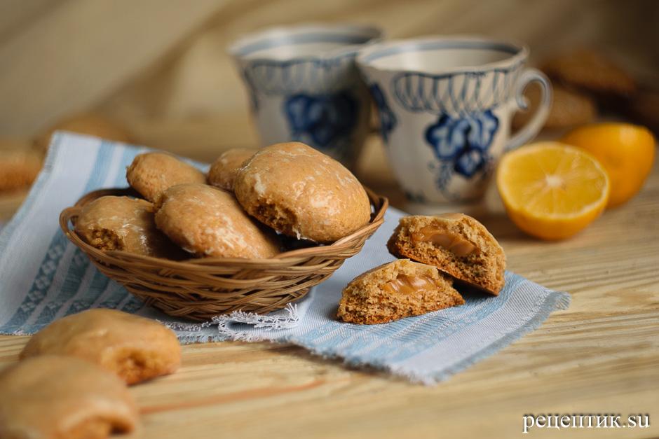 Мягкие медовые пряники с начинкой и лимонной глазурью - рецепт с фото