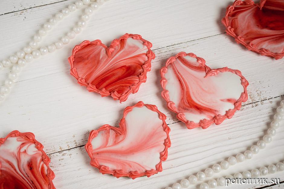 Пряники-сердечки, украшенные глазурью с разводами (мраморный эффект) - рецепт с фото, результат