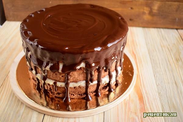 Бисквитный торт с заварным персиковым кремом - рецепт с фото, шаг 21