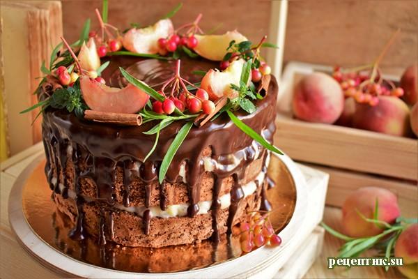 Бисквитный торт с заварным персиковым кремом - рецепт с фото