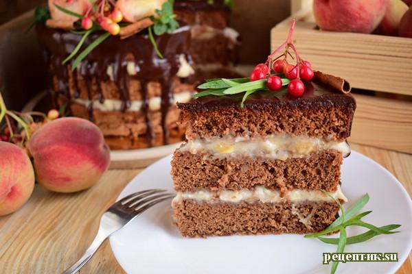 Бисквитный торт с заварным персиковым кремом - рецепт с фото, результат
