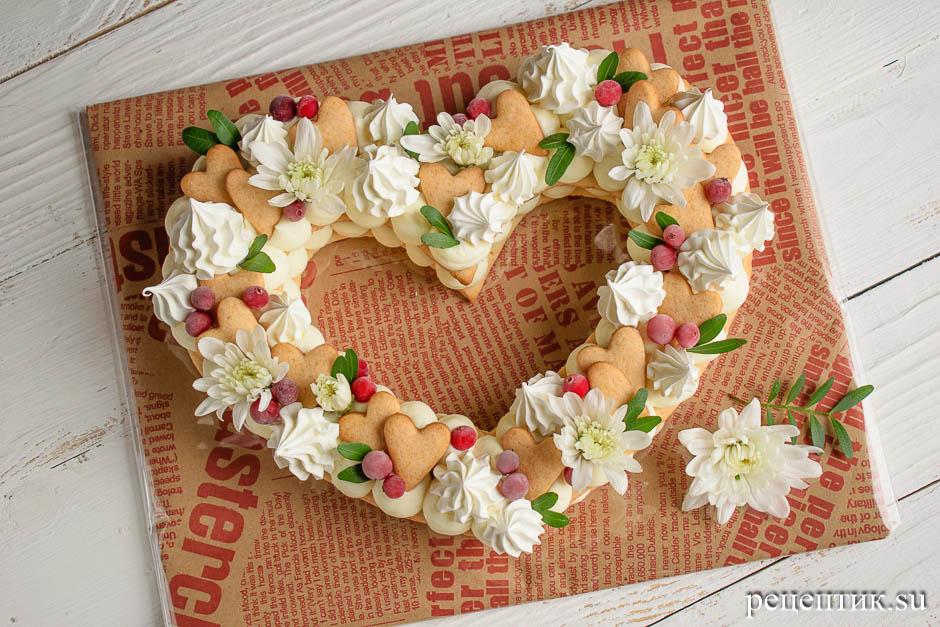 Нежный медовый торт «Сердце» с маскарпоне - рецепт с фото, шаг 14