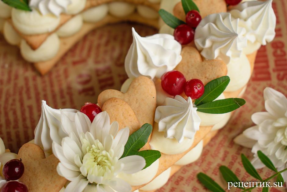 Нежный медовый торт «Сердце» с маскарпоне - рецепт с фото, шаг 15