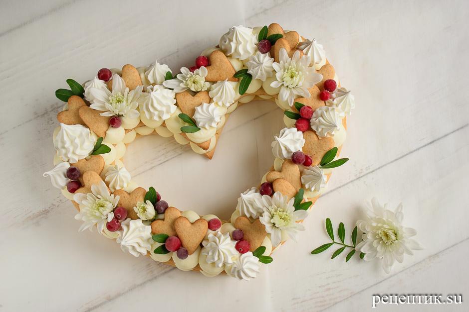 Нежный медовый торт «Сердце» с маскарпоне - рецепт с фото, шаг 17