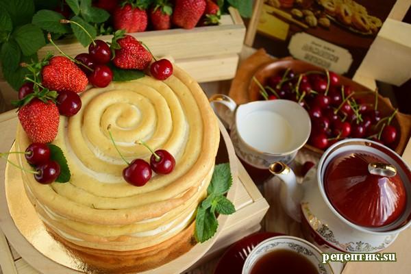 Торт «Спираль» из заварного теста - рецепт с фото