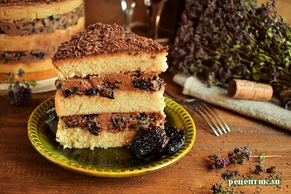 Винный торт с черносливом и шоколадом - рецепт с фото