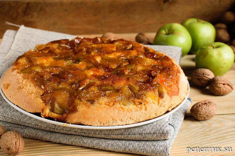Бисквитный пирог-перевертыш с яблоками - рецепт с фото, результат